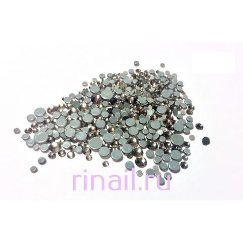 Стразы разноразмерные стекло  серебро 360 штук в баночке