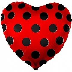 К 18''/46см, Сердце, Черные точки, Красный.