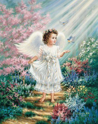 Картина раскраска по номерам 40x50 Маленький ангелок в саду