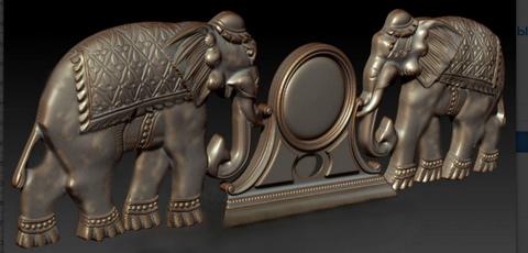 Силиконовый   молд  № 1552  Орнамент  слоны