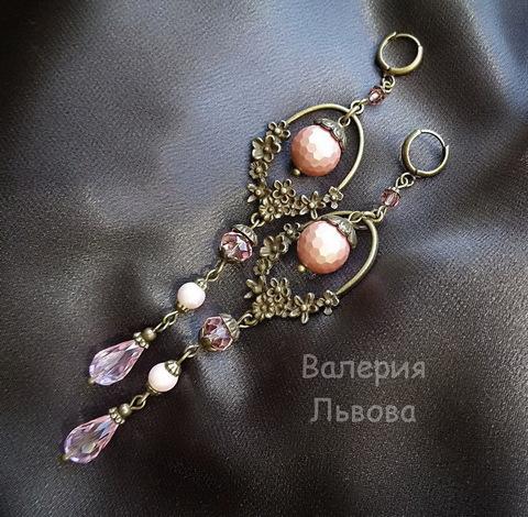 """Коннектор """"Цветы"""" (1-1) 41х16 мм (цвет - античная бронза) (Длинные серьги. Пример)"""