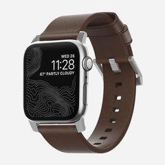 Ремешок Nomad Modern Strap для Apple Watch 44mm/42mm кожа темно-коричневый / серебристый