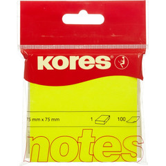 Стикеры Kores 75x75 мм неоновые желтые (1 блок, 100 листов)