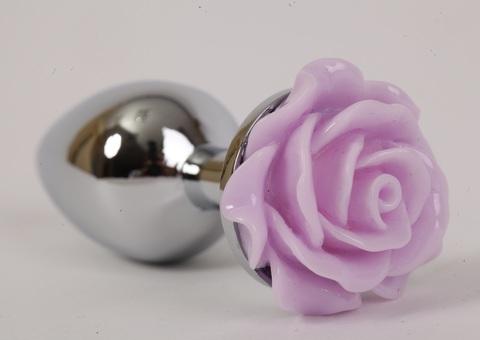 Анальная пробка металл 8х3,5см с розой сиреневая 47184-1-MM