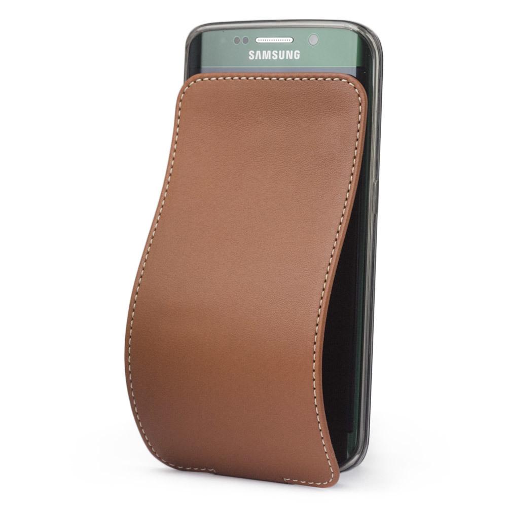 Чехол для Samsung Galaxy S6 edge из натуральной кожи теленка, коричневого цвета