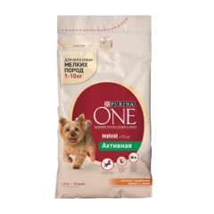Purina One Мини Активная Сухой корм для собак мелких пород Курица и Рис