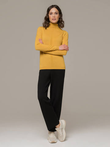 Женский джемпер желтого цвета из шерсти и шелка - фото 5