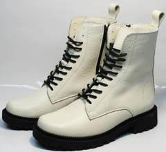 Высокие ботинки зимние женские натуральная кожа Ari Andano 740 Milk Black.