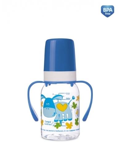 Бутылочка тритановая (BPA 0%) (11/823) с ручками с сил. соской, 120 мл. 3+ Cheerful animals (ослик)