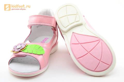 Босоножки ELEGAMI (Элегами) из натуральной кожи для девочек, цвет розовый. Изображение 8 из 12.