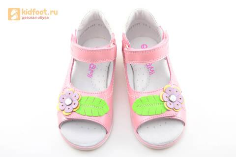 Босоножки ELEGAMI (Элегами) из натуральной кожи для девочек, цвет розовый. Изображение 9 из 12.
