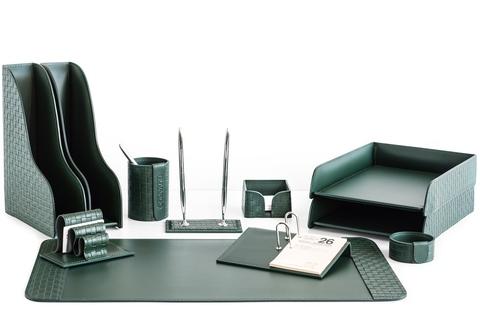 Набор на стол руководителя из зеленой кожи тиснение Treccia 11 предметов