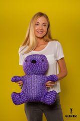 Подушка-игрушка антистресс «Вязаный Мишка», фиолетовый 2
