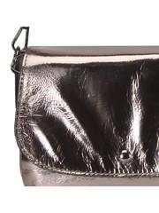Серебряная сумка- месенджер из натуральной кожи