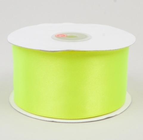 Лента атласная (размер: 50мм х 30м) Цвет:салатовая неон
