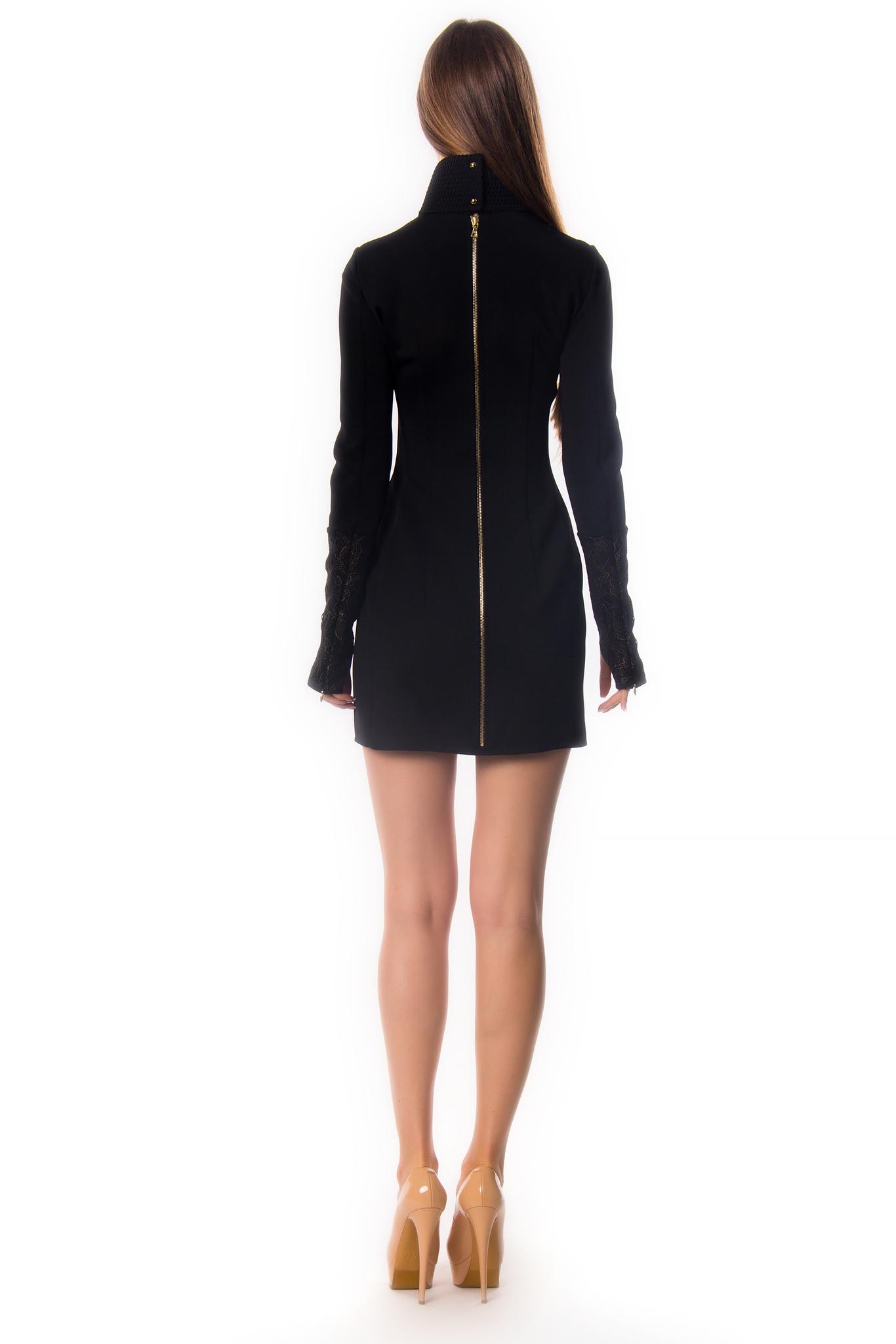 Платье черное с декором из молний и кружева