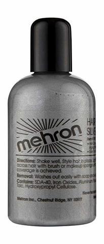 MEHRON Краска для волос Makeup Hair Silver, Серебристая, 133 мл