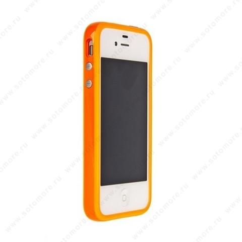 Бампер для Apple iPhone 4s/ 4 Bumper, цветное яблоко на упаковке, оранжевый