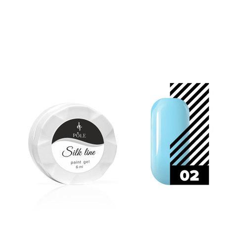 Гель-краска для тонких линий POLE Silk line №02 голубая (6 мл.)