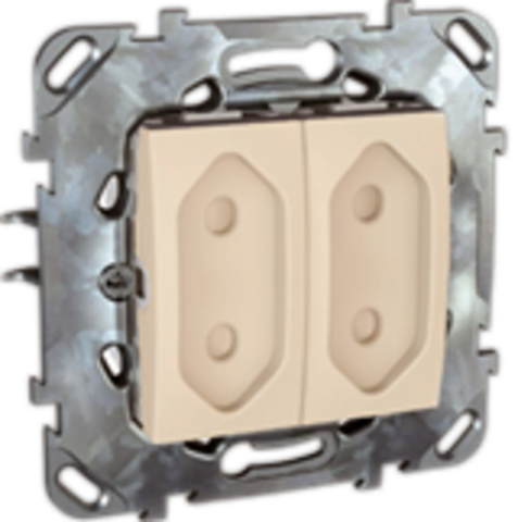 Розетка 2-модульная без заземления, со шторками 10А. Цвет Бежевый. Schneider electric Unica. MGU5.3131.25ZD