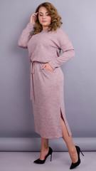 Леся. Оригинальное платье для пышных дам. Пудра.