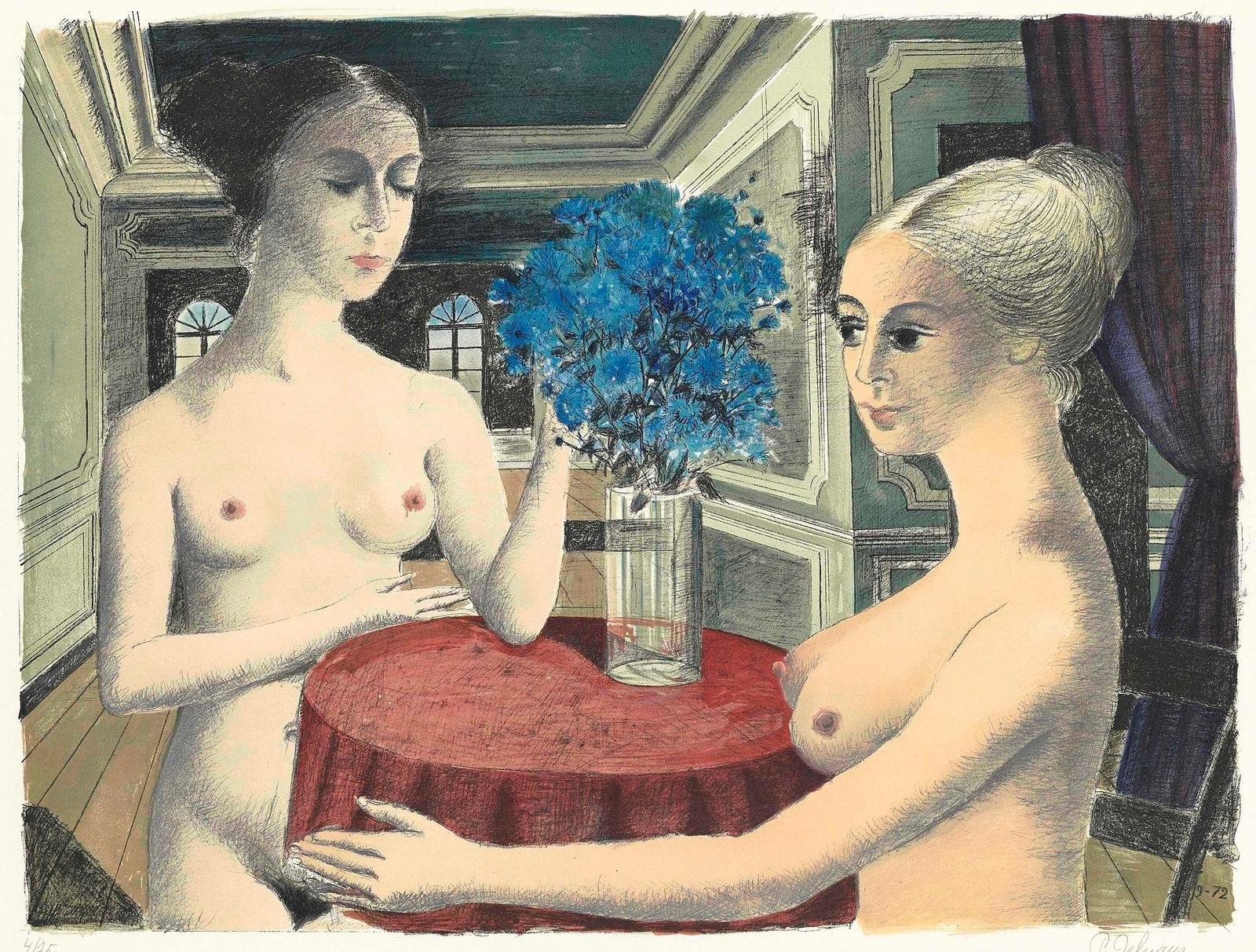 Поль Дельво. 1972. Молчание (Le Silence). 59 x 79.  Лист 68.3 x 97. Цветная литография.