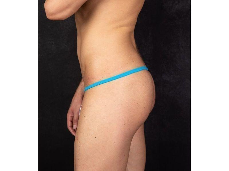 Мужские трусы стринги белые с синей окантовкой Cosmos Colors FM01_WB