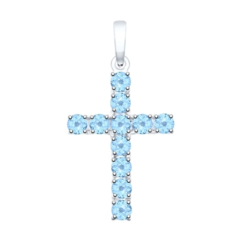 92030511- Крестик из серебра с топазами от SOKOLOV