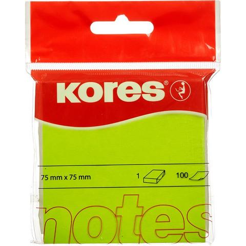 Стикеры Kores бум.для зам. 75х75 неон. зеленая 100л. 47075 (47077/47075)