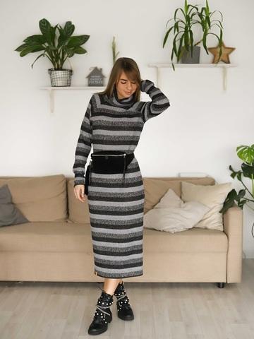 Платье в полоску с люрексом