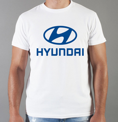 Футболка с принтом Хендай (Hyundai) белая 003