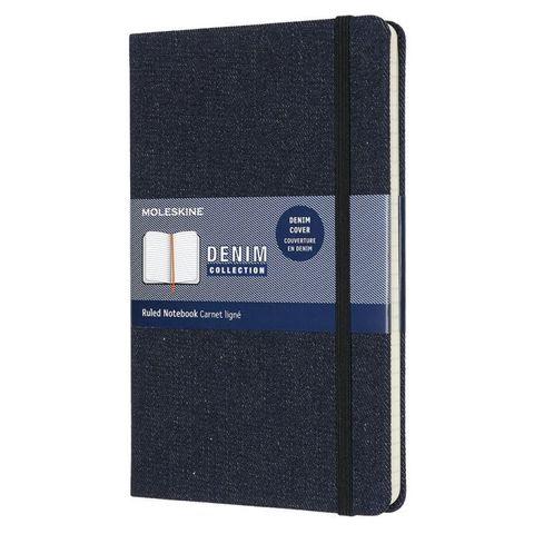 Блокнот Moleskine LIMITED EDITION DENIM LCDNB1QP060 Large 130х210мм обложка текстиль 240стр. линейка темно-синий Prussian blue