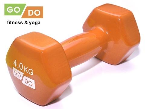 Гантель GO DO в виниловой оболочке. Вес 4  кг.  (Оранжевый)