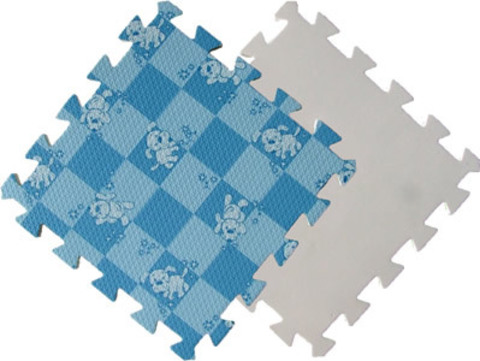 Детский мягкий пол «Голубая клетка с собачками». Коврики-пазлы.