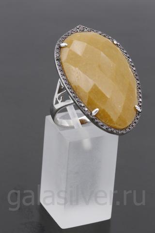 Кольцо с авантюрином и фианитом из серебра 925