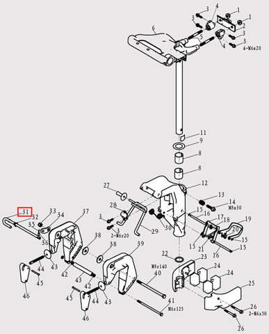 Штырь деферента для лодочного мотора F9.8 Sea-PRO (13-31)