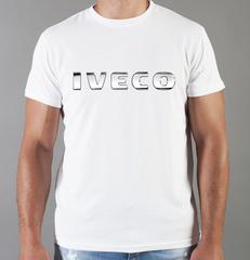 Футболка с принтом Ивеко (Iveco) белая 003