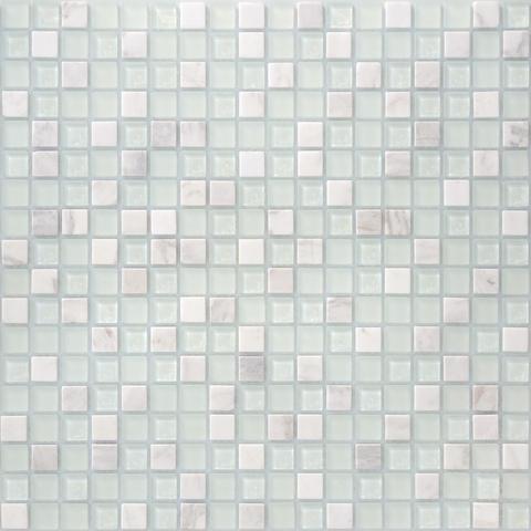 Мозаика стеклянная с камнем Mont Blanc 15x15x4 305х305