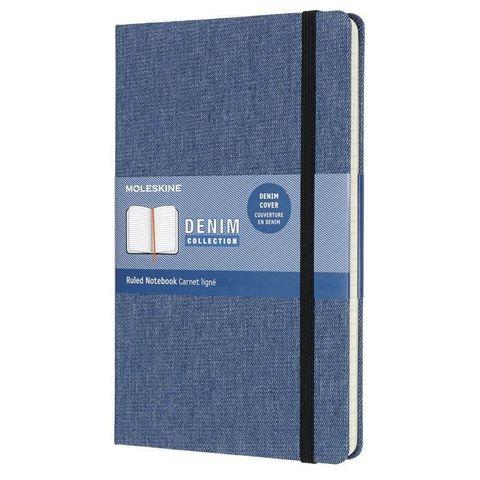 Блокнот Moleskine LIMITED EDITION DENIM LCDNB2QP060 Large 130х210мм обложка текстиль 240стр. линейка синий Antwerp blue