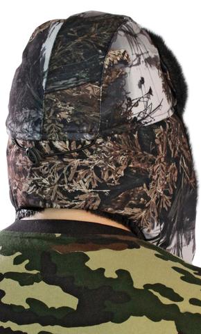 Шапка-ушанка тк.Алова ЛЕС на флисе (опушка черный мех под норку)
