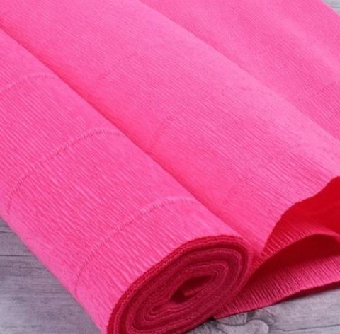 Бумага гофрированная, цвет 551 ярко-розовый, 180г, 50х250 см, Cartotecnica Rossi (Италия)