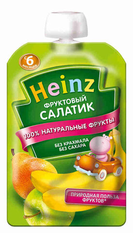 Heinz Пюре Фруктовый салатик (пауч 100гр) с 6мес