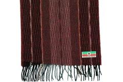 Шерстяной шарф бордовый полосатый 30691