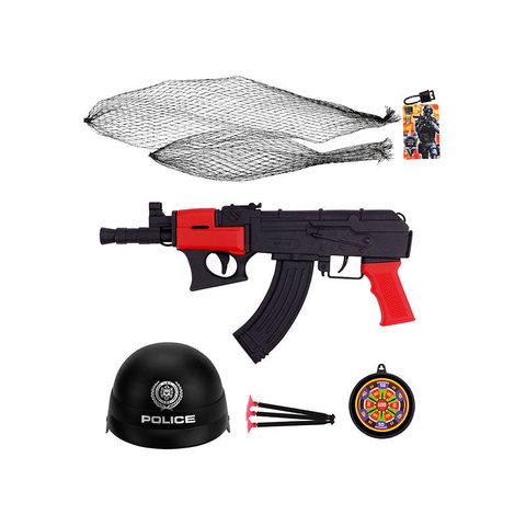 Набор полицейский с каской и оружием в сетке/2019-45