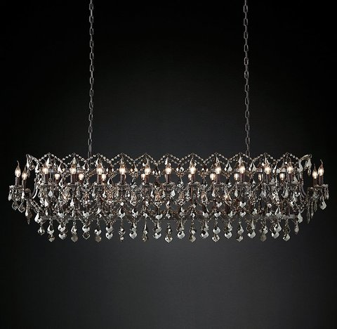 Подвесной светильник копия 19th C. Rococo Iron & Smoke Crystal Rectangular Chandelier 73