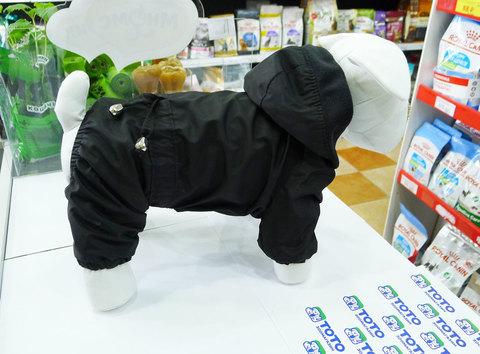 Дождевик с флисом для мелких пород собак, черный