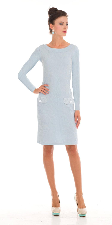 Платье З790-449 - Комфорт и изящность. Это платье говорит само за себя. Мятно-голубой и ненавящевый цвет визуально придаст вашей коже свежесть. Длинные рукава и слегка прилегающий силуэт платья дадут вам возможность двигаться свободно. Материал подкладки с натуральной основой позволит вашей коже дышать и находиться в комфорте в жару и холод.