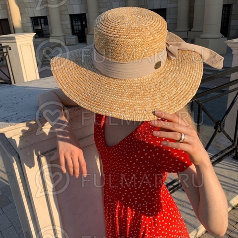 Шляпа канотье с бежевой лентой соломенная летняя София