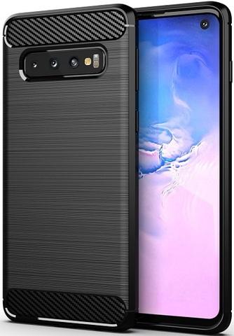 Чехол Samsung Galaxy S 10 цвет Black (черный), серия Carbon, Caseport