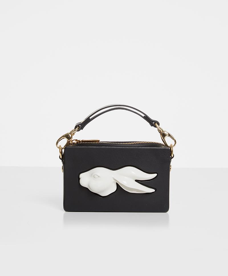 Прямоугольная сумка из кожи Rabbit Black
